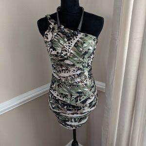 One Shoulder Camo Print Dress